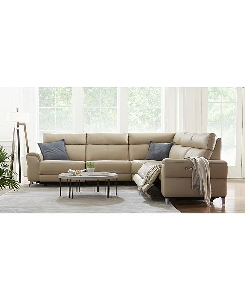 Raymere Fabric & Leather Power Reclining Sectional Sofa Collection, Created  for Macy\'s