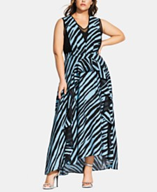 City Chic Trendy Plus Size Zebra-Print Maxi Dress