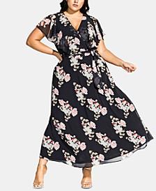 Trendy Plus Size Floral-Print Faux-Wrap Maxi Dress