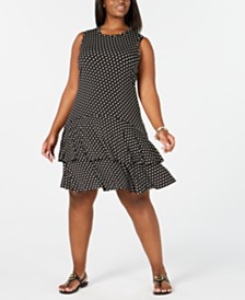 MICHAEL Michael Kors Plus Size Sleeveless Printed Ruffled A-Line Dress