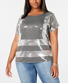 MICHAEL Michael Kors Plus Size Sequin Colorblock T-Shirt