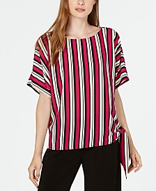 Michael Michael Kors Striped Side-Tie Top, Regular & Petite