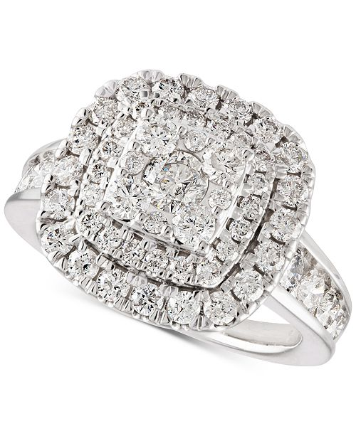 Macy's Diamond Multi-Layer Halo Engagement Ring (2 ct. t.w.) in 14k White Gold