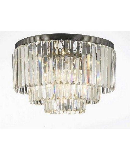 Harrison Lane Palladium Empress Crystal (Tm) Glass Fringe 3-Tier Flush Chandelier