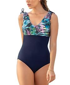Leonisa Color Block U-Back One-Piece Slimming Swimsuit