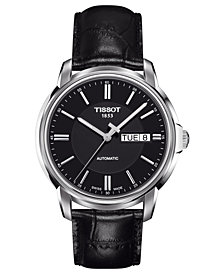 Tissot Men's Swiss Automatic III Black Leather Strap Watch 39mm T0654301605100