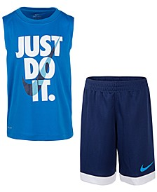 Little Boys 2-Pc. Dri-FIT Just Do It Sleeveless T-Shirt & Mesh Shorts Set