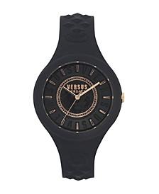 Versus Versace Women's Fire Island Black Silicone Strap 38MM Watch