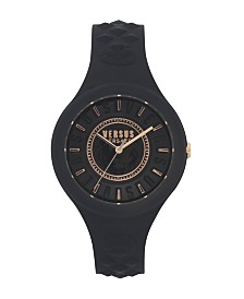 Versus Versace Women's Fire Island Black Silicone Strap 38MM Watch