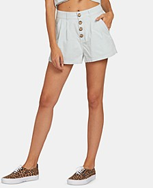 Juniors' Cotton Pleated Shorts