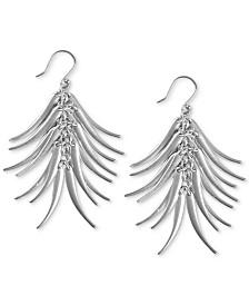 Lucky Brand Silver-Tone Elongated Petal Drop Earrings