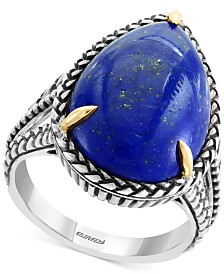 EFFY® Lapis Lazuli (20 x 13mm) Two-Tone Statement Ring in Sterling Silver & 18k Gold-Plate