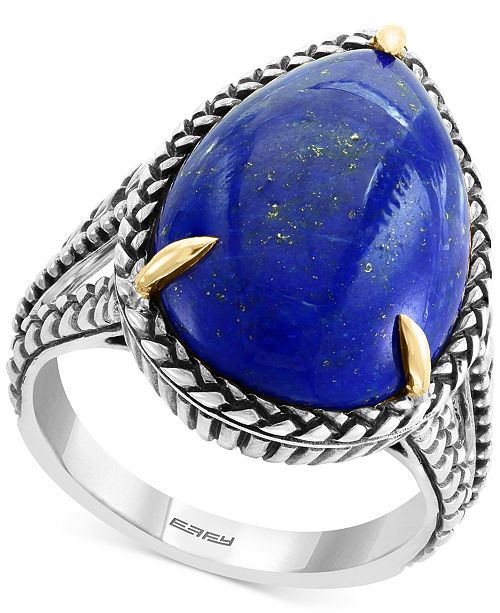 EFFY Collection EFFY® Lapis Lazuli (20 x 13mm) Two-Tone Statement Ring in Sterling Silver & 18k Gold-Plate