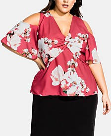 City Chic Trendy Plus Size Twisted Floral Cold-Shoulder Top