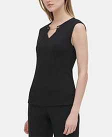 Calvin Klein Textured Chain-Trim Top