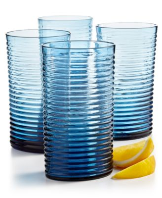 CLOSEOUT! Blue Ribbed Highball Glass, Set of 4, Created for Macy's