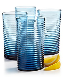 Blue Ribbed Highball Glass, Set of 4, Created for Macy's