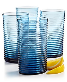 The Cellar Blue Ribbed Highball Glass, Set of 4, Created for Macy's
