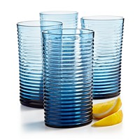 Deals on The Cellar Blue Ribbed Highball Glass Set Of 4