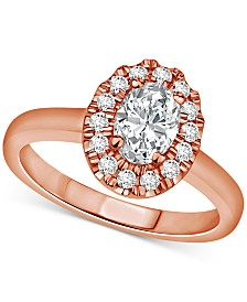 Certified Diamond Oval Halo Engagement Ring (1 ct. t.w.) in 14k Gold, 14k White Gold or 14k Rose Gold