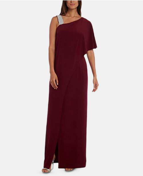 R & M Richards Asymmetrical-Neck Gown