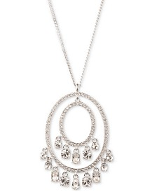 "Givenchy Silver-Tone Shaky Crystal Orbital Pendant Necklace, 16"" + 3"" extender"