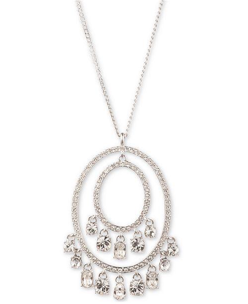 "Givenchy Silver-Tone Shaky Crystal Orbital Pendant Necklace, 16"" + 3"" extender"