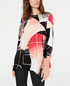Alfani Printed Handkerchief-Hem Swing Top, Created for Macy's