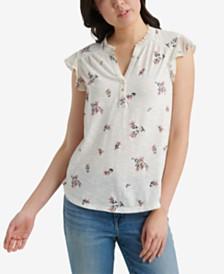 Lucky Brand Floral-Print Flutter-Sleeve Henley Top
