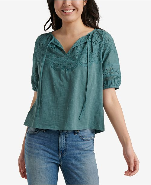 Lucky Brand Cotton Embroidered Peasant Top