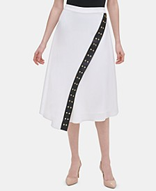 Grommet-Trim Asymmetrical Midi Skirt