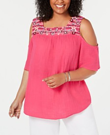 Style & Co Plus Size Cotton Cold-Shoulder T-Shirt, Created for Macy's