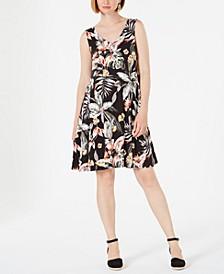 Petite Cross-Back Printed Swing Dress, Created for Macy's