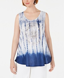 Style & Co Graphic Tie-Dyed Sleeveless Top, Created for Macy's