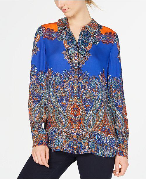 Elie Tahari Scarf-Print Paisley Long-Sleeve Blouse