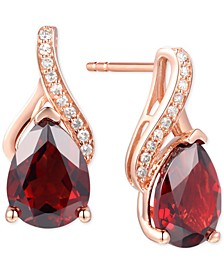 Rhodolite Garnet (2-7/8 ct. t.w.) & Diamond Accent Drop Earrings in 14k White Gold (Also Available in Blue Topaz, Mystic Topaz, Amethyst, and Citrine)