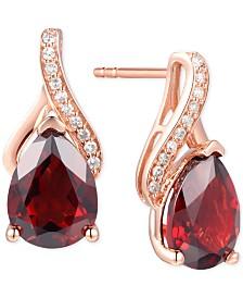 Garnet (2-7/8 ct.t.w.) & Diamond Accent Drop Earrings in 14k Rose Gold