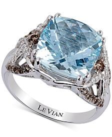 Le Vian® Sea Blue Aquamarine (4-1/5 ct. t.w.) & Diamond (1/2 ct. t.w.) Ring in 14k White Gold