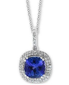 "EFFY® Tanzanite (2 ct. t.w.) & Diamond (1/4 ct. t.w.) 18"" Pendant Necklace in 14k White Gold"