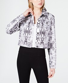 Bar III Cropped Snake-Embossed Trucker Jacket, Created for Macy's