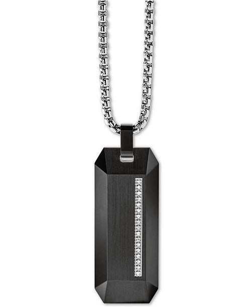 """Bulova Men's Diamond Accent Beveled Dog Tag Pendant Necklace in Stainless Steel, 26"""" + 2"""" Extender"""