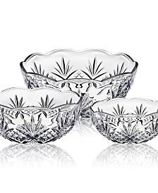 Godinger Dublin Crystal Bowls, Set of 3