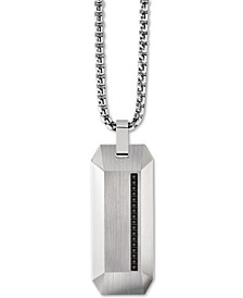 "Men's Diamond Accent Beveled Dog Tag Pendant Necklace in Stainless Steel, 26"" + 2"" Extender"