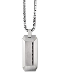 "Bulova Men's Diamond Accent Beveled Dog Tag Pendant Necklace in Stainless Steel, 26"" + 2"" Extender"