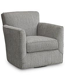 "Turnington 34"" Fabric Flared Arm Swivel Chair, Created for Macy's"