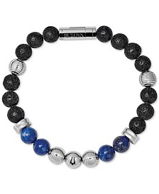 Bulova Men's Black Lava & Lapis Bead Bracelet in Stainless Steel