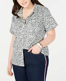 Tommy Hilfiger Plus Size Cotton Printed Camp Shirt, Created for Macy's