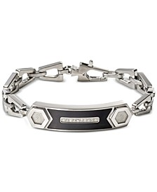 Men's Diamond Accent Chain Link ID Bracelet in Stainless Steel