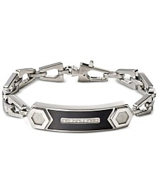 Bulova Men's Diamond Accent Chain Link ID Bracelet in Stainless Steel