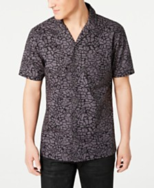 I.N.C. Men's Animal Print Camp Shirt, Created for Macy's